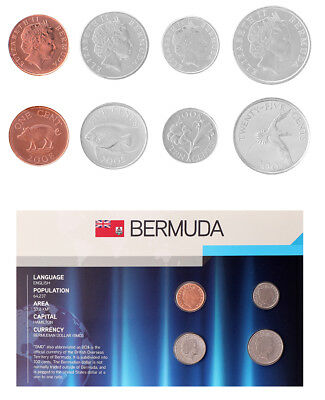 Bermuda 1 - 25 Cents 4 Pieces - PCS Coin Set, 2005-2008, KM # 44-47, Mint, Queen