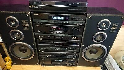 Aiwa Hi Fi vinyl record player, CD and tape stack system plus speakers