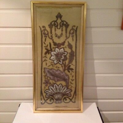 Yellow silk panel embroidery