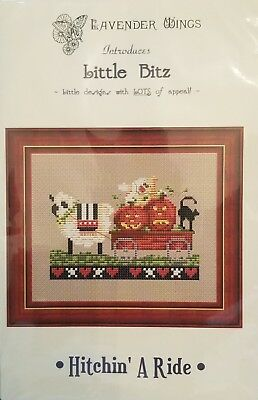Lavender Wings counted cross stitch chart with fabric - 'Hitchin' A Ride'