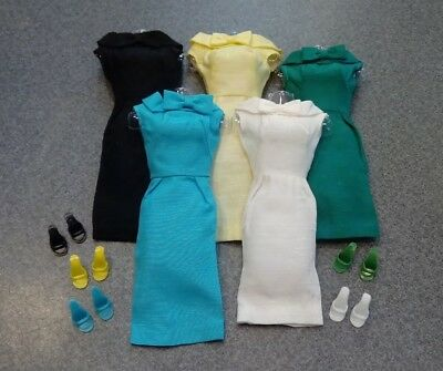 1962-63 Barbie Silk Sheath in 5 Colors w/Matching Shoes