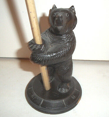 Fine Rare Antique Carved Black Forest Bear Pen/ Quill Holder with Glass Eyes