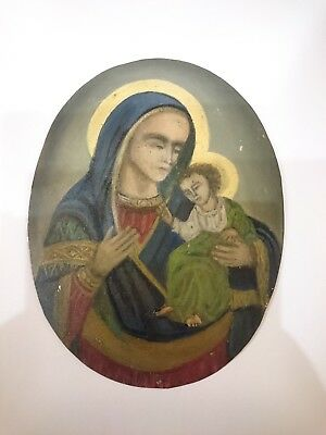 Antique Russian Orthodox Icon Hand Painted in Metal 19th century
