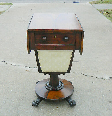 Rosewood Empire Sewing Stand~~drop Leaf Side Table circa 1850