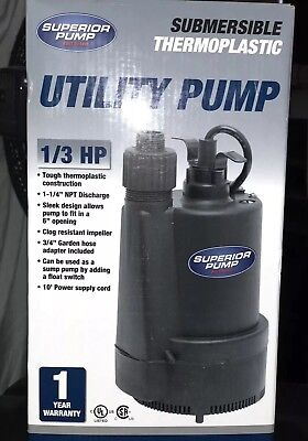 Superior Pump 91330 1/3 HP Thermoplastic Submersible Utility Pump And Valve