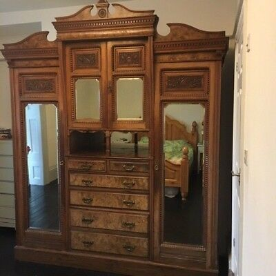 Superior 19th Century Victorian Ornate lined Wardrobe & Matching Dressing Table