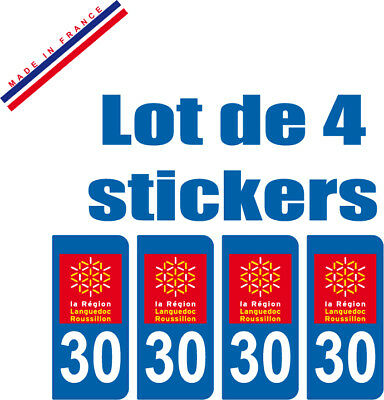 4 STICKERS style PLAQUE IMMATRICULATION DEPARTEMENT 30