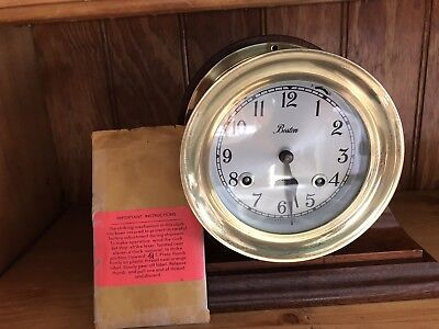 Chelsea Boston Shipstrike Clock With Mahogany  Base