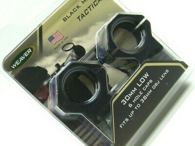 "Weaver 6 Hole Tactical Scope Rings 1/"" Extra High Matte Black 48351"