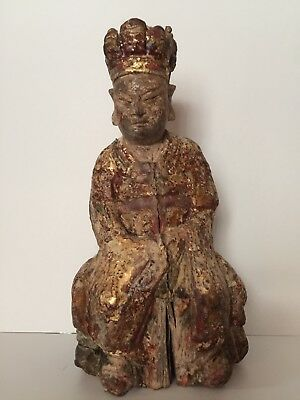 Antique Chinese Hand Carved Gilt Wood Buddha Lohan Statue