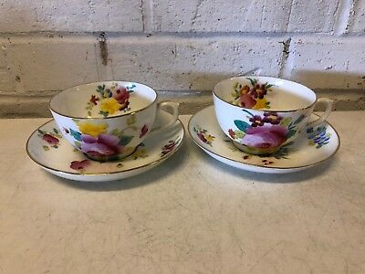 Ant Royal Chelsea Porcelain Pair of Cups & Saucers w/ Multicolored Floral Dec.