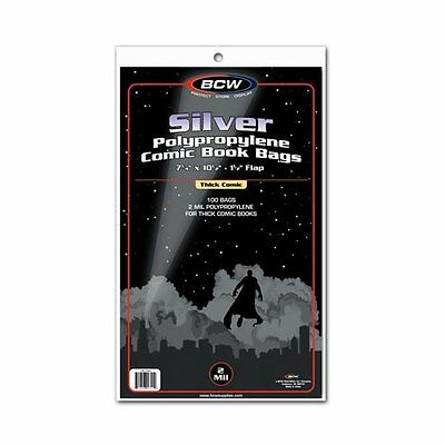 300 BCW Silver Age THICK Comic Book 2 Mil Archival Poly Bags 7 1/4 x 10 1/2
