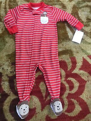 b79777374825 BOYS CARTERS BROWN   Red Striped Sleeper 24 Months -  2.00