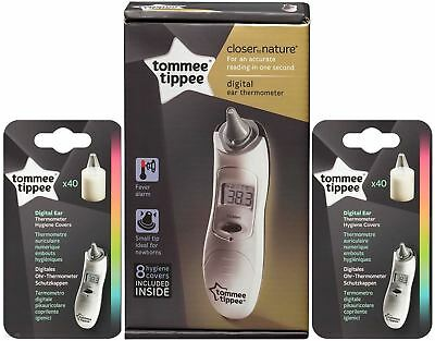 Tommee Tippee Baby Toddler Digital Ear Thermometer & 2x 40 Refill Hygiene Covers