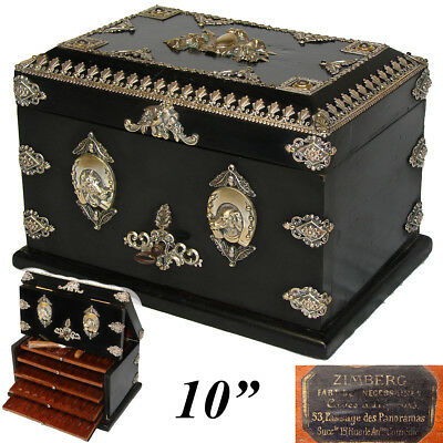 "Antique French Napoleon III 10"" Cigar Chest, Box, Presenter: Hunt Horse & Dog"