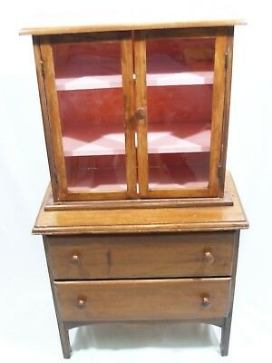 Antique vintage Early child's step back hutch