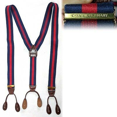 Vintage 1980s Blue Red Striped EAS W Germany Button Suspenders Braces