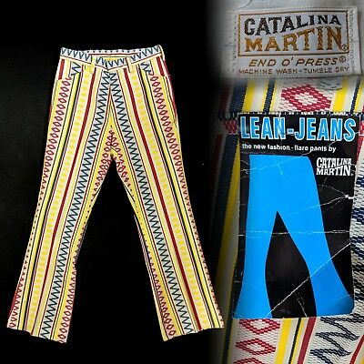 Vintage NOS 1970s Catalina Martin Lean Jeans Psychedelic Bellbottoms 28.5x30