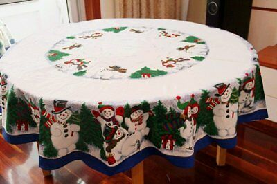 Tablecloth Christmas Tree & Snowman Table Cover [Shape: ROUND - OVAL - SQUARE]