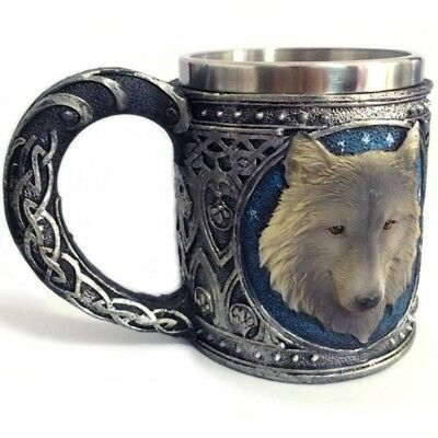 Wolf Head 3D Skull Mugs For Coffee Tea Bear Double Wall Stainless Steel 450 ML