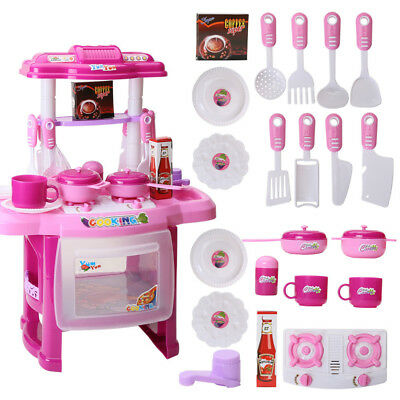 Kids Simulation Kitchen Cookware Pretend Role Play Toy with Music Light
