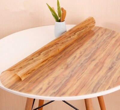 Round Tablecloth PVC Table Mat Imitation Wood Cover [Waterproof] Japanese Style