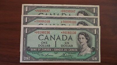 1954 1$ dollar lot of 3 bill canada replacement note VF+ *X/F VF *O/Y VF *A/F