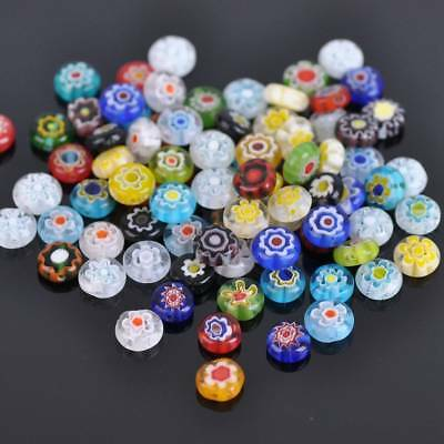 50pcs 8mm Coin Shape Millefiori Lampwork Glass Loose Spacer Beads Random Mixed