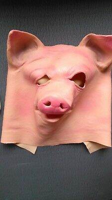 Full faced latex pig mask for role playing bdsm play or costume