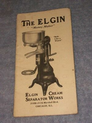 "Vintage Booklet The Elgin Cream Separator Sold by DW Pierce St Marys Ohio 3""X6"""