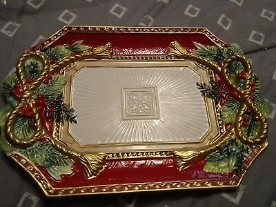 Fitz and Floyd  Holiday Tidings  Cookie  Platter Holly Berries Platter NEW