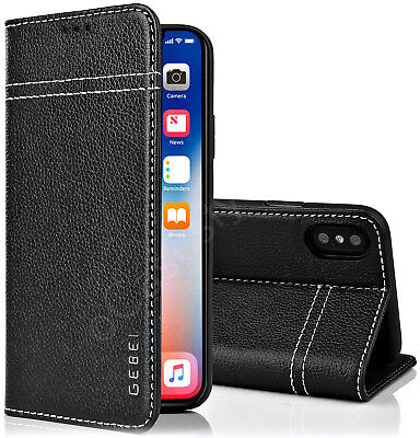 iPhone XS-MAX Genuine Real Leather Wallet Folio Case Stand Cover Luxury Holder