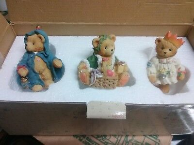 Cherished Teddies figurines 3 Piece set  614807 Gloria Garland & Gabriel   *800*