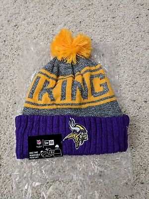 New Era Minnesota Vikings 2018 Winter Purple and Yellow Beanie Hat OSFA 139500851