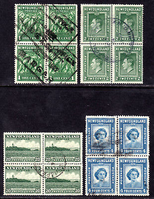 NEWFOUNDLAND #183,245,263,269 BLOCK's /4 LOT/4, ALL USED