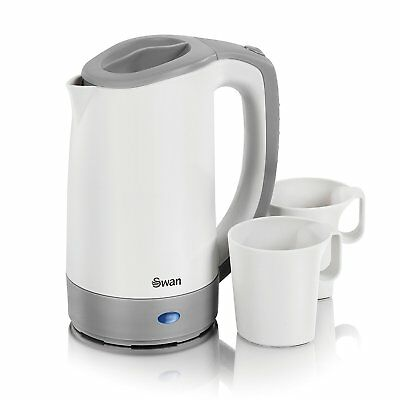 Swan White Corded Light Kettle 2 Free Cups Easy Grip Dual Voltage Travel Kitchen