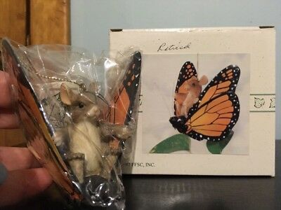 Charming Tails Mice On Butterfly.  Retired 1997 Piece With Original Box!!