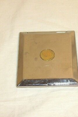 Vintage Double Mirror Compact Square Metal regular & magnifier 3 1/4'' x 3 3/4''