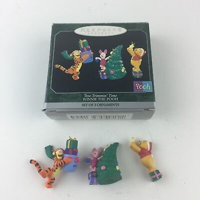 1998 Hallmark Winnie The Pooh Tree Trimmin' Time 3 Mini Ornaments MIB Free Ship