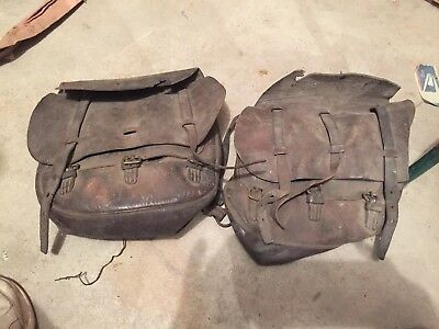 Antique Vintage Leather U.S. Cavalry Saddle Bag Pair Parts Or Restore