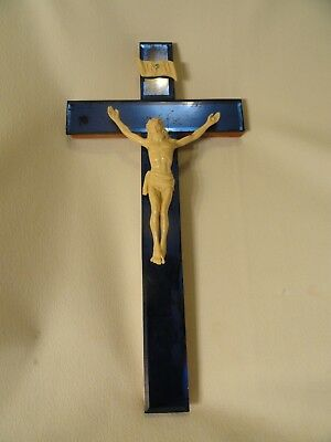 Antique Art Deco Cobalt Blue Mirror Crucifix Cross Ivory Look Plastic Christ 17""