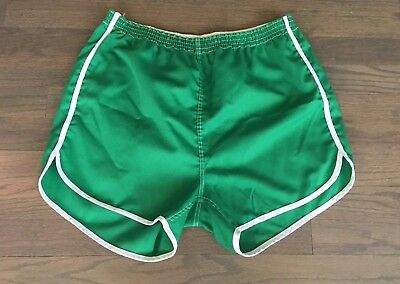 Vtg Men's Green Swim Board Athletic Running Gym Shorts M