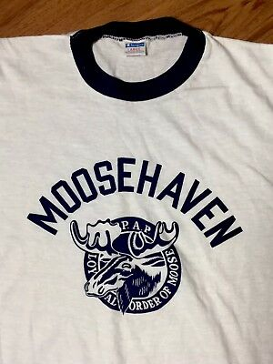 80's vtg 50/50 Champion MOOSEHAVEN P.A.P Loyal Order of Moose RARE Ringer Tee