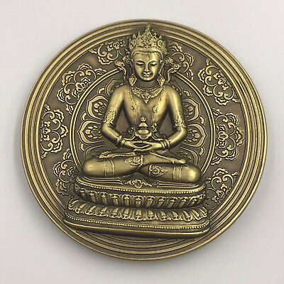 Large Chinese Order Badge Religion Buddha Medal Coin Brass Medal, RARE!!