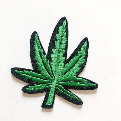 Weed Green Drug Reggae Malihuana Sew Iron On Embroidered Patch Applique