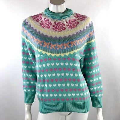 VTG 80s One Step Up Womens Sweater Size Large Pastel Green Pink Yellow Fairy Kei