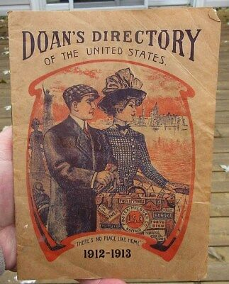 Antique 1912 - 1913 Doan's Pills Directory Of The United States 32 Page Booklet