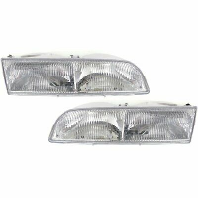 Halogen Headlight Set For 1992-97 Ford Crown Victoria Left & Right w/ Bulbs Pair