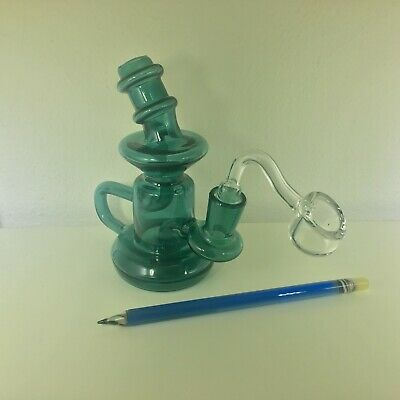 "5"" Recycler Cyclone Oil Dab Rigs + 4mm Thick Quartz Banger + Rainbow Dab Tool"