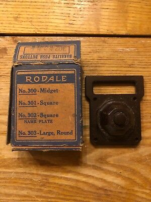 Vintage Rodale No. 302 Bakelite Square Door Bell Push Button Switch